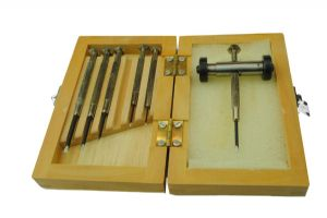 Jewellers Screwdriver Set x 6 in a Wooden Box and a Sharpening Jig (J1312)